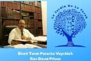 Divré Torah Paracha Vaychla'h - Rav David Pitoun