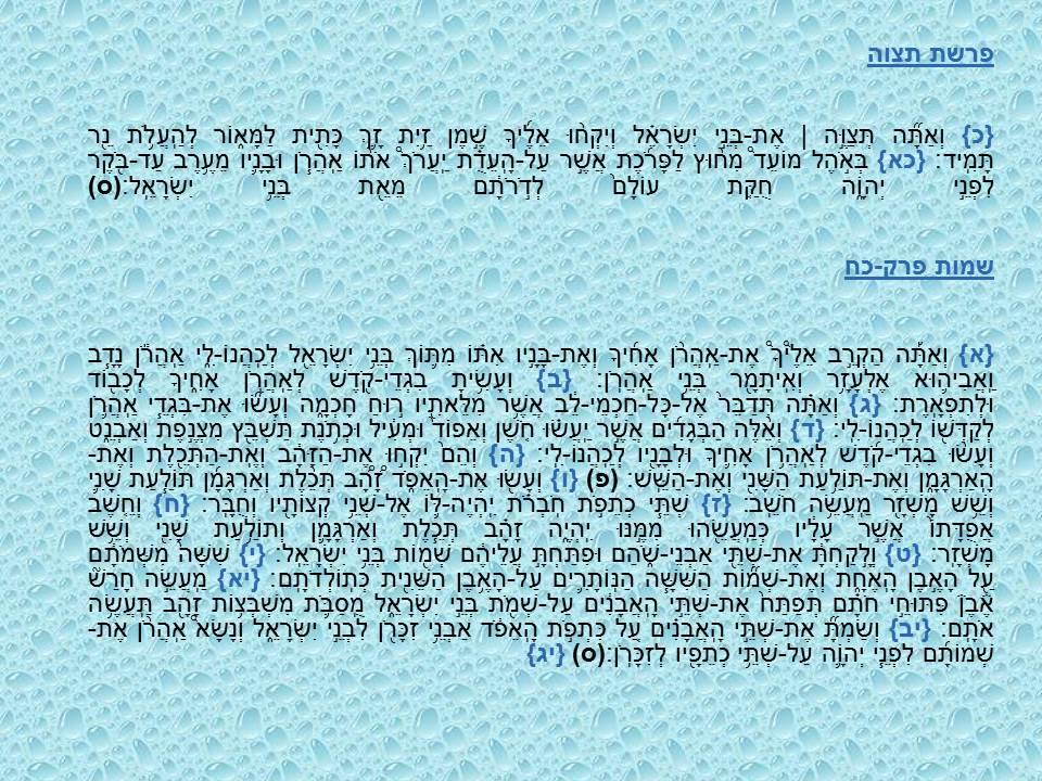 Dikdouk - Grammaire II - Parashat tétsavé - Shéva Na'h et Shava Na' I