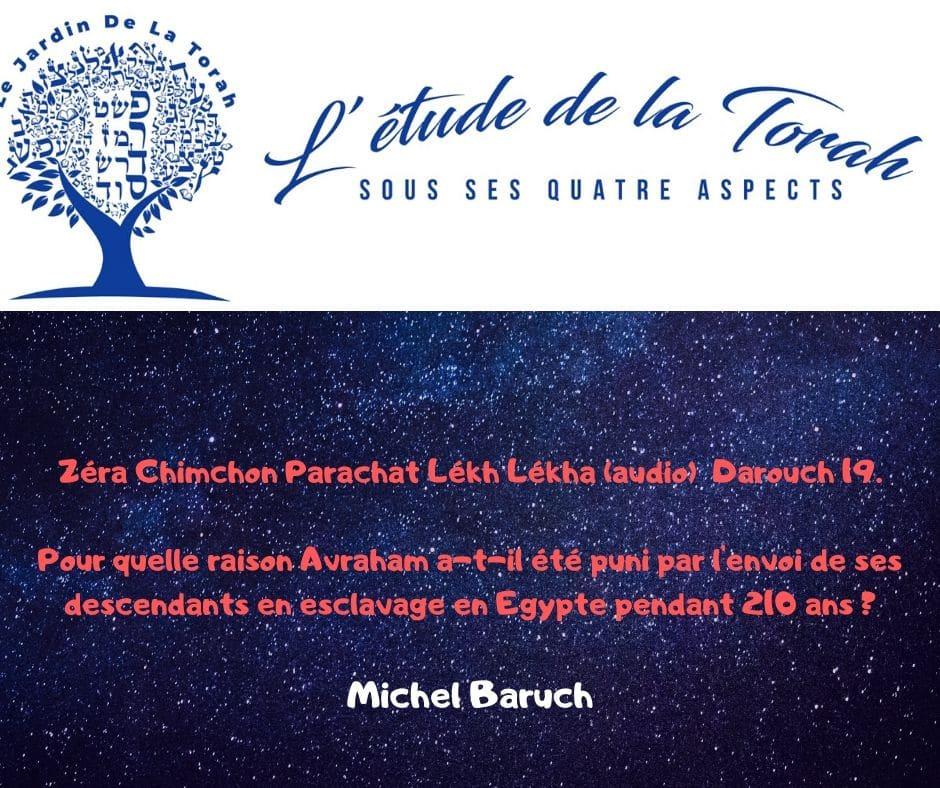 Zéra Chimchon Parachat Lékh Lékha.  Darouch 19 (audio) Michel Baruch