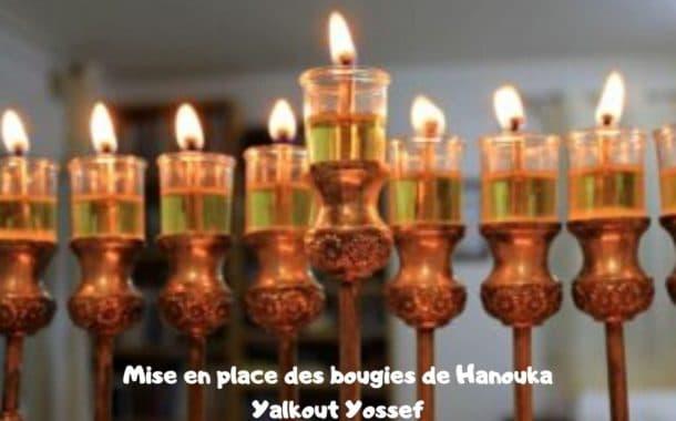 Mise en place des bougies de Hanouka. Yalkout Yossef Ch. 671 §17-18