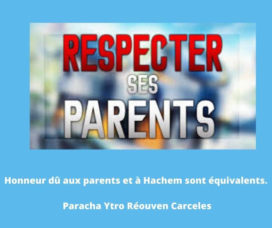 Honneur dû aux parents et à Hachem sont équivalents. Paracha Ytro